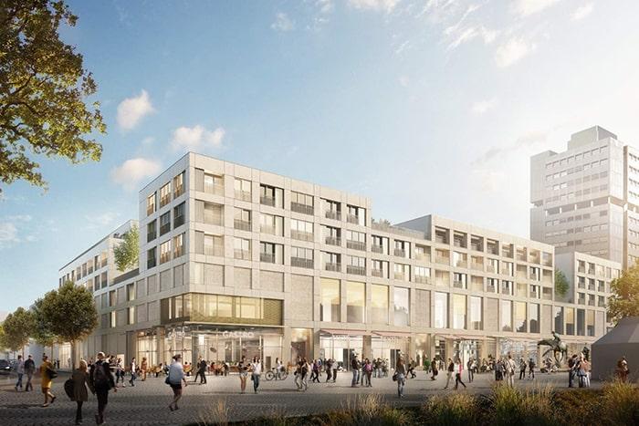 Visualisierung des Projekts LÖ am Bahnhofsplatz Lörrach. Visualisierung: moka-studio Architekt: blauraum